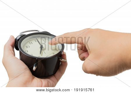 Closeup Hand Point Finger At The Clock Isolated On White, Warning For Time To Do Concept.