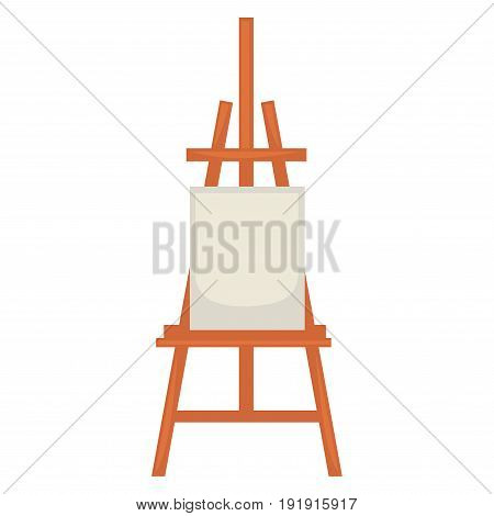 Wooden easel with clean paper isolated on white. Vector illustration in flat design of special standing equipment consisting of many brown sticks with place for blank canvas for painting pictures