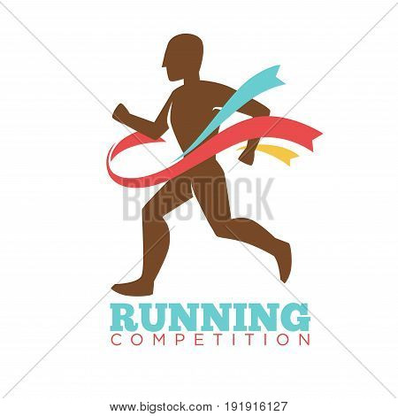 Running competition logo label with male athlete runner silhouette breaking colorful ribbons. Vector illustration in flat design of championship template poster with sporty man winning contest