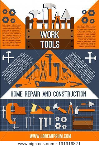 Home repair and construction work tools poster. Vector design of toolbox kit or house fix carpentry and building instruments of hammer, screwdriver or wrench and drill, ruler or trowel and paint brush