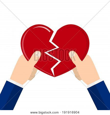 Hands tearing apart heart symbol. vector illustration in flat style