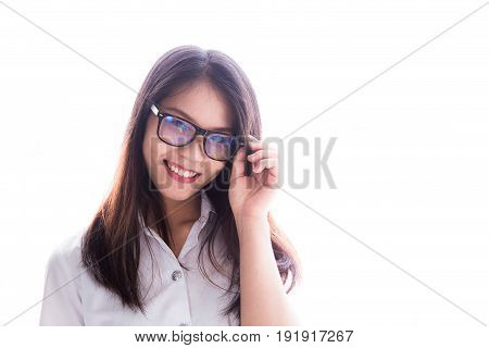 Asian University Student Women Cute Uniform Nerd With Glasses Portrait Isolated On White, Thailand U
