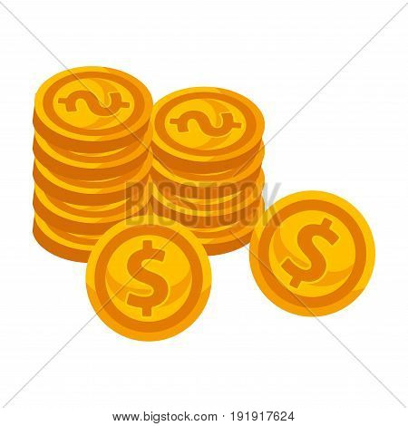 Golden shiny round coins neat piles with thick engraved dollar sign and couple of cents put on ribs isolated vector illustration on white background. Metal money of low value cartoon collection.