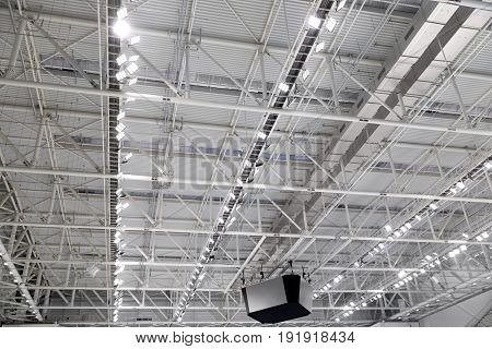 metal roof interiors structure of modern building