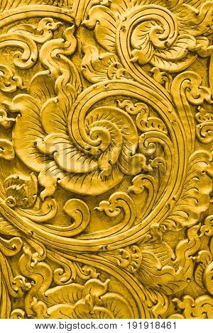 Thai Gold Pattern Handcraft Traditional Culture Fine Art Decoration In Temple.