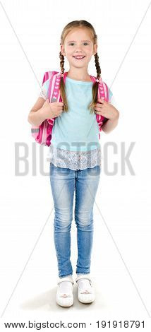 Portrait of smiling school girl child with backpack isolated on a white background