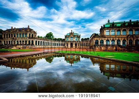 Dresden, Germany - June, 2016: Zwinger Castle in Dresden Germany at night
