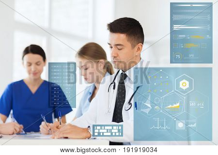 medicine, healthcare, technology and people concept - group of doctors meeting and taking notes at hospital