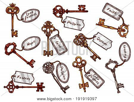 Vintage keys on keychain tags with names to open door for dream, love or hope and passion. Vector heraldic old brass or metal bronze forged keys with ornate and flourish bows or wards