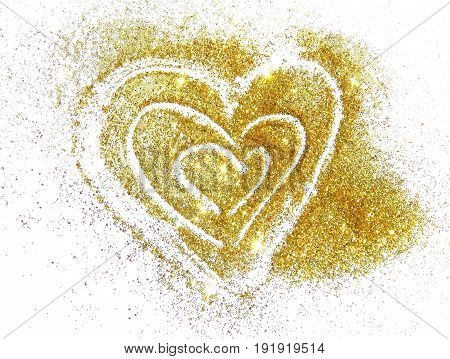 Abstract heart of golden glitter sparkles on white background