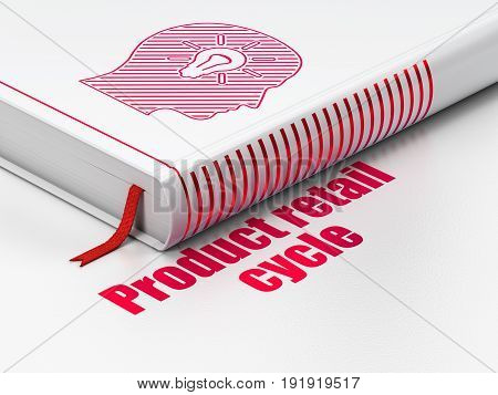 Advertising concept: closed book with Red Head With Light Bulb icon and text Product retail Cycle on floor, white background, 3D rendering