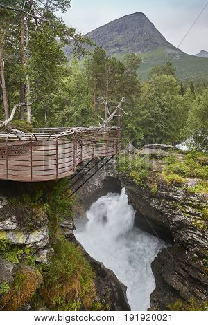 Norway landscape with viewpoint and river. Gudbrandsjuvet Valldal. Vertical