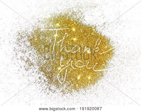Words Thank You of golden glitter on white background