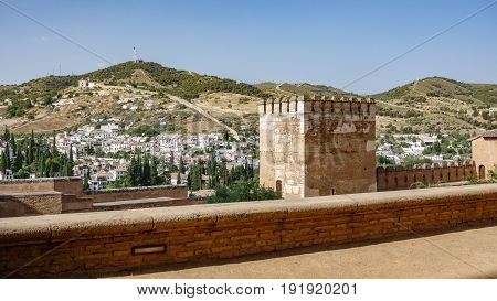 Wide view of wall and Merlon in Alhambra of Granada