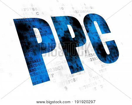 Marketing concept: Pixelated blue text PPC on Digital background