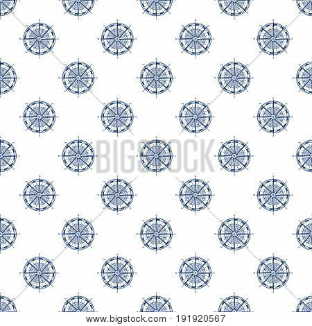 Windrose Blue Compass Rose on White Background Seamless Maritime Travel Pattern Line Style Design Vector Illustration