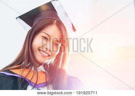 Asian Cute Women Portrait Graduation, Thailand University.