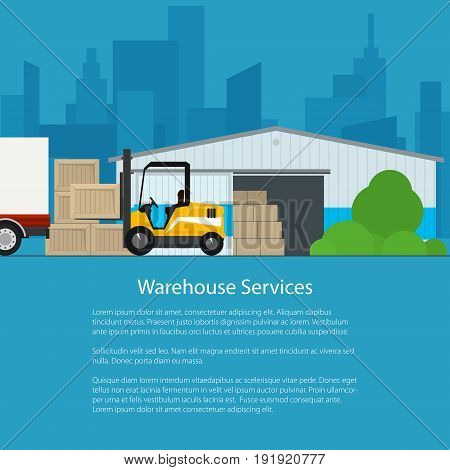 Warehouse Services , Warehouse with Forklift Truck on the Background of the City and Text, Transportation and Cargo Services and Storage, Flyer Brochure Poster Design, Vector Illustration