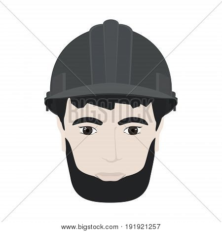 Working Man in a Hard Hat, Man's Face with a Beard in Gray Safety Helmet on White Background , Vector Illustration