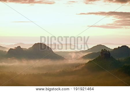 Tourist Resort In Saxony. Fantastic Dreamy Sunrise On The Top Of The Rocky Mountain With The View In
