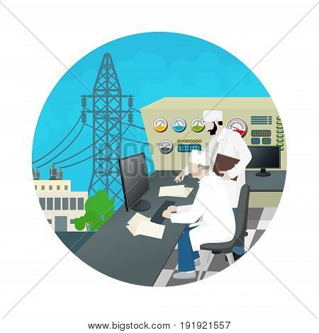 Icon People near the Control Panel on Power Station , High Voltage Power Lines, Vector Illustration