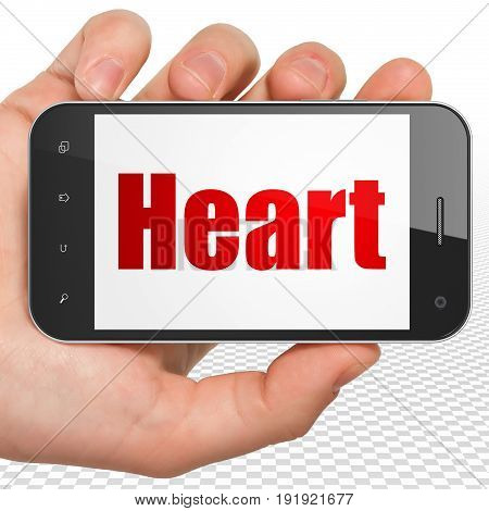 Healthcare concept: Hand Holding Smartphone with red text Heart on display, 3D rendering