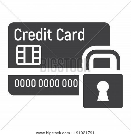 Credit Card with padlock solid icon, protection and security, vector graphics, a glyph pattern on a white background, eps 10.