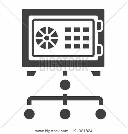 Network safe vault solid icon, security and strongbox, vector graphics, a glyph pattern on a white background, eps 10.