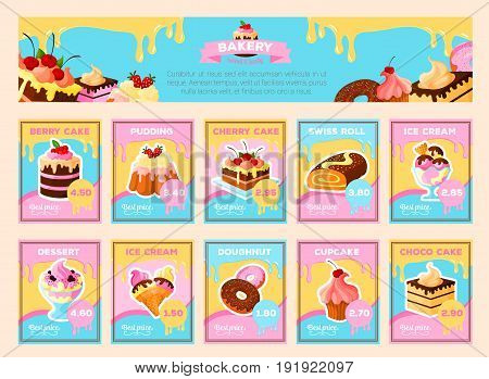 Sweet pastry desserts price cards or menu banner templates set for chocolate and berry cake, charlotte pudding and swiss roll pie, ice cream and tiramisu cupcake or brownie biscuit