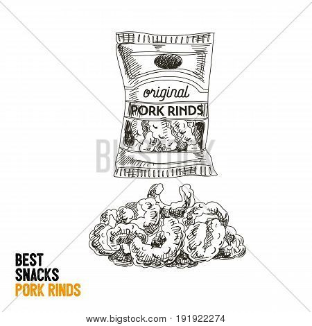Vector hand drawn snack and junk food Illustration. Pork rinds. Vintage style sketch background.
