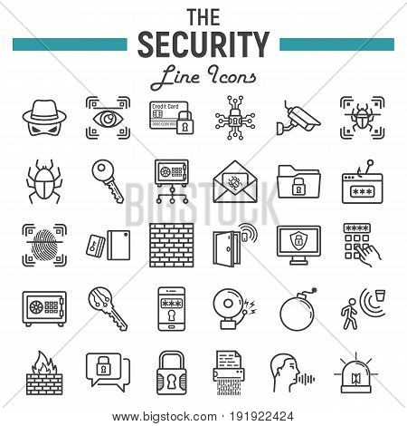 Security line icon set, cyber protection symbols collection, safety vector sketches, logo illustrations, linear pictograms package isolated on white background, eps 10.