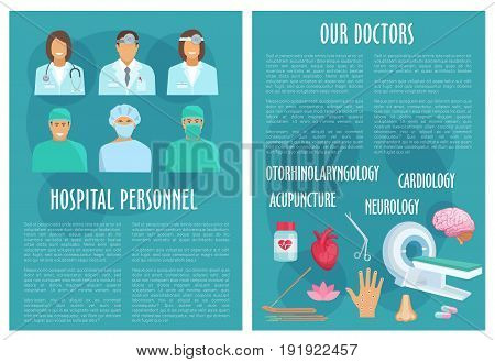 Hospital doctors and medical healthcare departments brochure of cardiology heart pills and stethoscope, otolaryngology otoscope and syringe, neurology mri scanner and acupuncture medicine needles