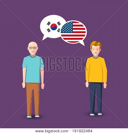 Two people with white speech bubbles with South Korea and USA flags. Language study conceptual illustration