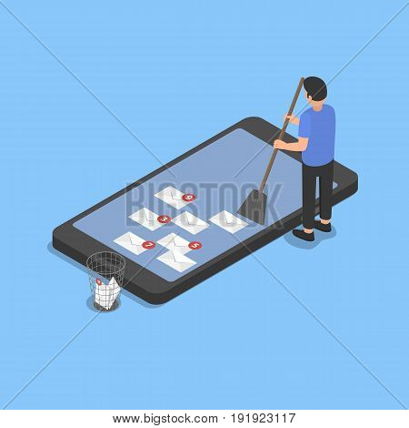 Cleaning the smartphone from spam. Isometric vector illustration.