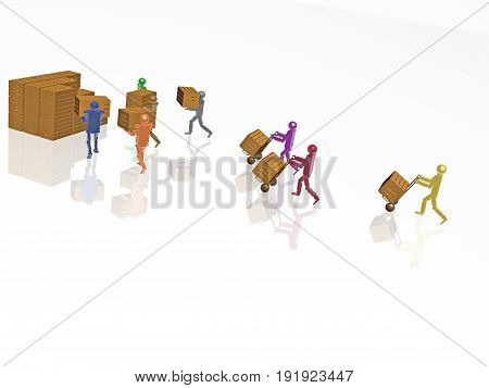 Color robots with casegoods on white reflective background 3D illustration.