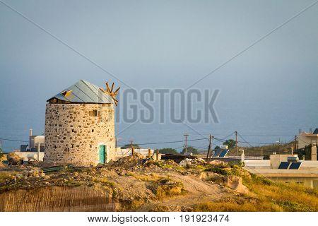 Old ancient windmill in Kefalos Kos; Greece.