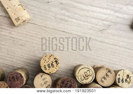 Dated wine bottle corks background close up