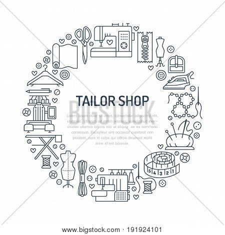 Sewing equipment, hand made supplies banner illustration. Vector line icon needlework accessories - sewing machine, fabric, pin, iron, hanger, DIY tools. Tailor store template with place for text.
