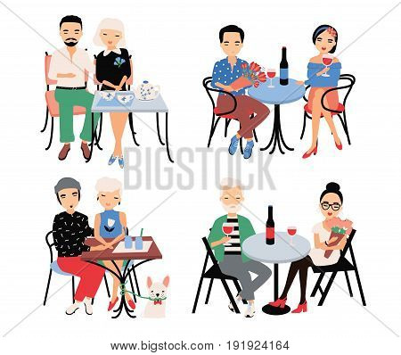 Set of couples on romantic date. Young trendy lovers at table in cafe. Guy and girl sit in embrace, hold hands, drink wine and tea. Colorful vector illustration in cartoon style