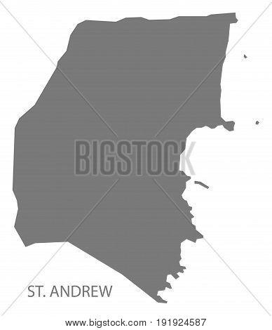 St. Andrew region map of Grenada in grey illustration silhouette