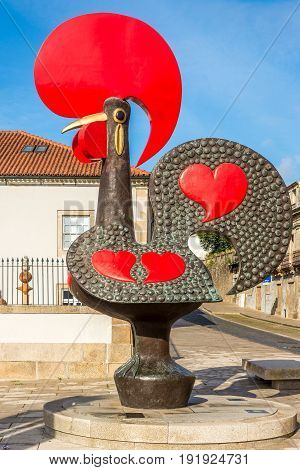 BARCELOS,PORTUGAL - MAY 14,2017 - View at the City symbol of Barcelos. The town symbol is a rooster in Portuguese called Galo de Barcelos (Rooster of Barcelos).