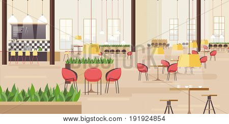 Food court in shopping mall. Horizontal vector illustration with many seats. flat vector illustration