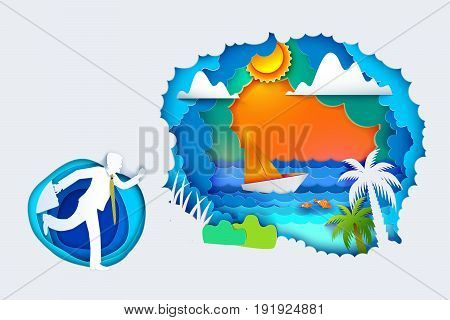 Businessman go to summer holidays. Paper art carving with tropical sea waves, palm, hot sun, clouds, sailboat. Man run to travel, vacation, resort and exotic life. Vector illustration. Paper cutout