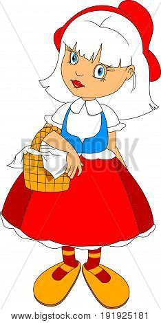 Cartoon Illustration of Cute Little Red Riding Hood Fairy Tale Character