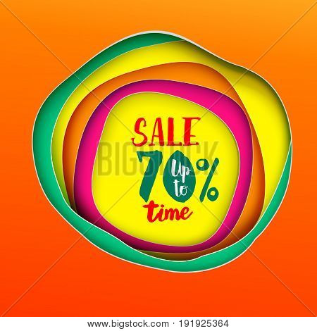 Sale time Inscription banner. Lettering Vector illustration. Paper art cut layers. Colorfull background. Paper art cutout style for presentations, flyers, posters and banners.