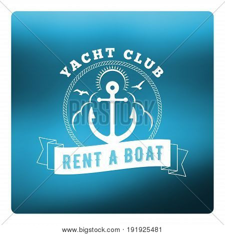 Boat Rental Summer Badge. Typographic Retro Style Label With Blurred Blue Background. Rental Agency