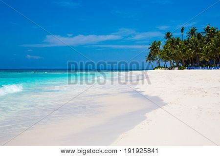 Caribbean Sea and an island with palm trees and white sand