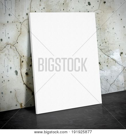 Blank White Paper Poster On The Crack Concrete Wall And Black Cement Floor,mock Up To Display Or Mon