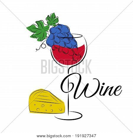 Silhouettes of wine glass, grape and cheese isolated on white. Wine concept for posters menu and other winery products.