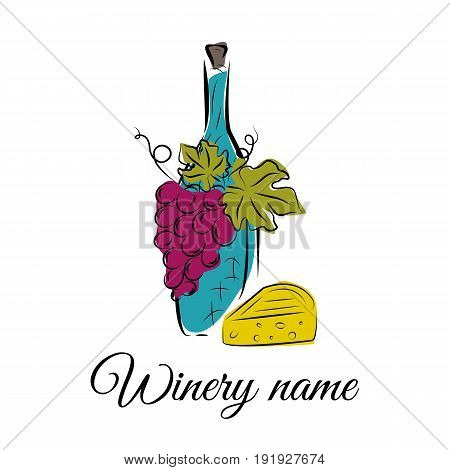 Wine bottle grape and cheese. Hand drawn concept for winery products harvest wine list wine tasting menu and emblem design. Colorful vector illustration on white.